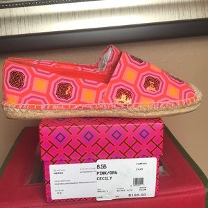 Tory Burch Shoes - Tory Burch canvas flats pink and orange NIB